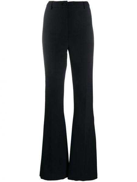 Черные расклешенные брюки на молнии Hebe Studio