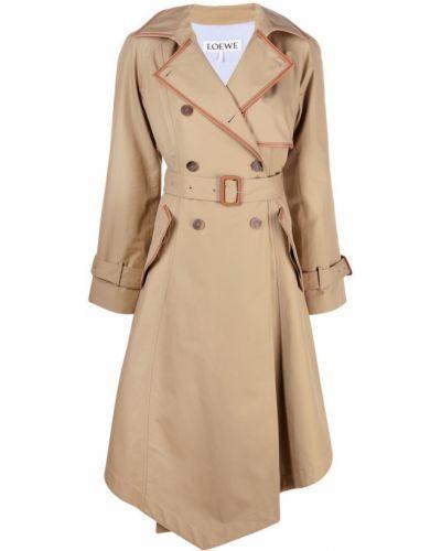 Коричневое кожаное длинное пальто двубортное Loewe