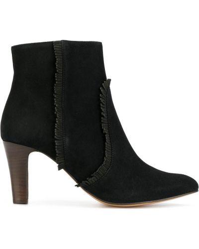 Кожаные черные ботинки с бахромой Tila March