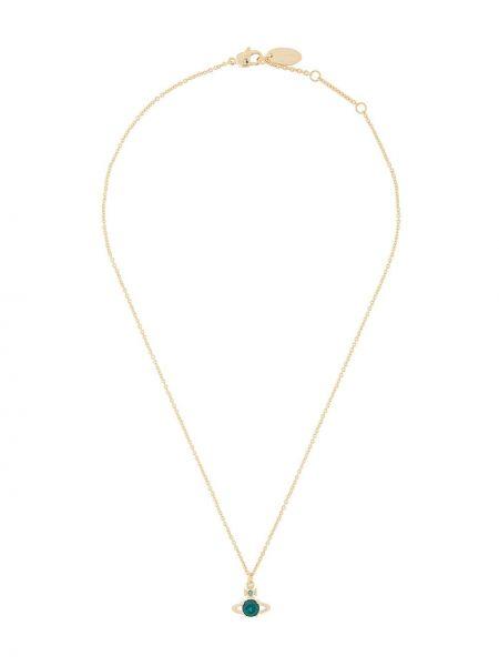 Zielony złoty naszyjnik szmaragd Vivienne Westwood