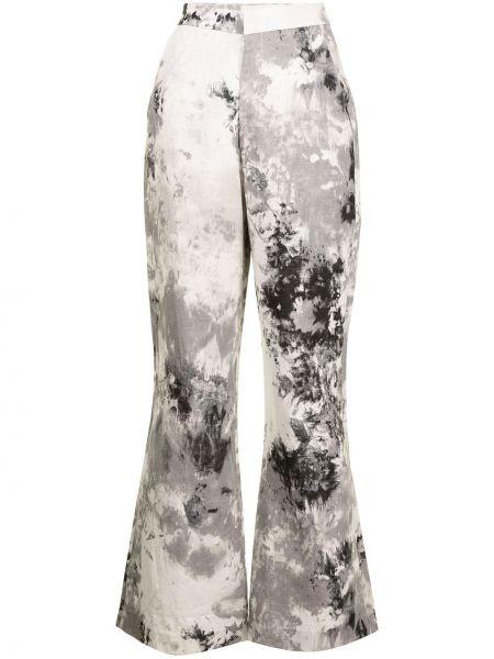 Льняные с завышенной талией черные брюки Bambah