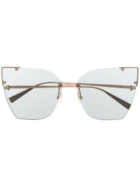 Золотистые серые солнцезащитные очки металлические Max Mara