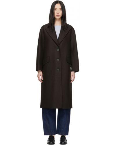 Коричневое шерстяное длинное пальто с воротником Harris Wharf London