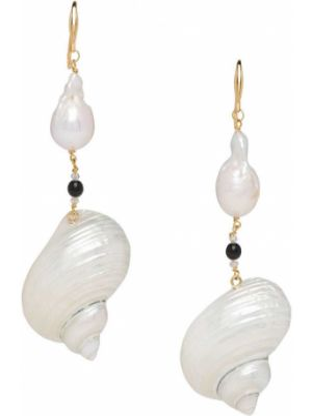 Białe złote kolczyki sztyfty perły Prada