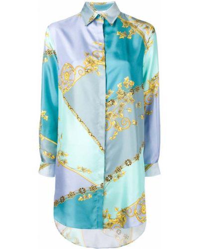 Синяя классическая рубашка Versace Collection