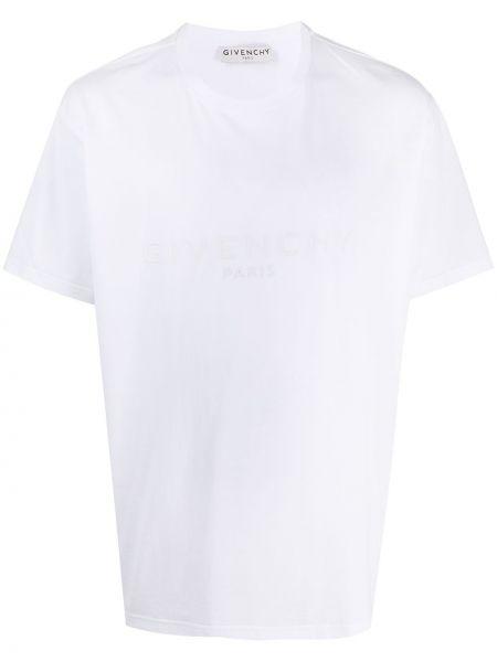Biały bawełna prosto koszula krótkie z krótkim rękawem z haftem Givenchy