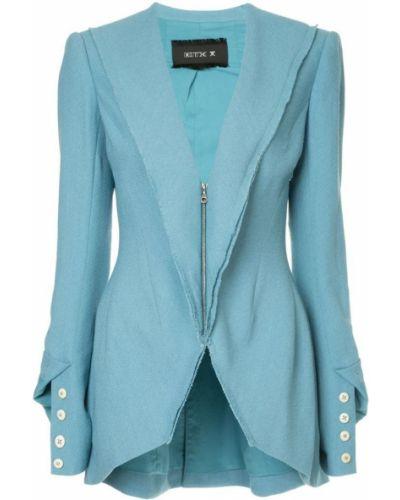 Приталенный синий классический пиджак с подстежкой Kitx