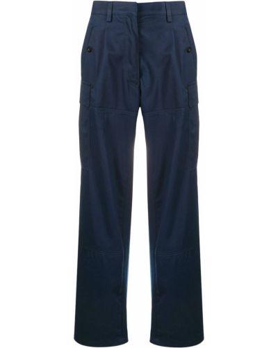 Хлопковые синие свободные брюки свободного кроя с потайной застежкой Loewe