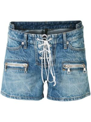 Синие джинсовые шорты со стразами с карманами на шнуровке Unravel Project