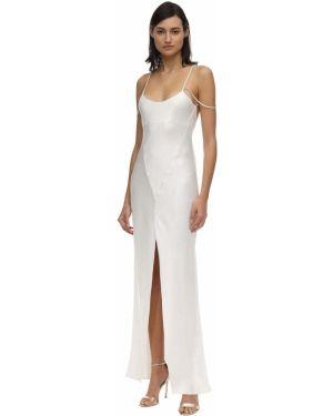 С ремешком сатиновое бежевое платье миди на бретелях Kiki De Montparnasse