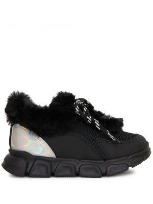 Массивные черные кроссовки сетчатые на шнуровке Giuseppe Junior