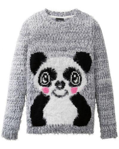 Серый шерстяной вязаный свитер Bonprix