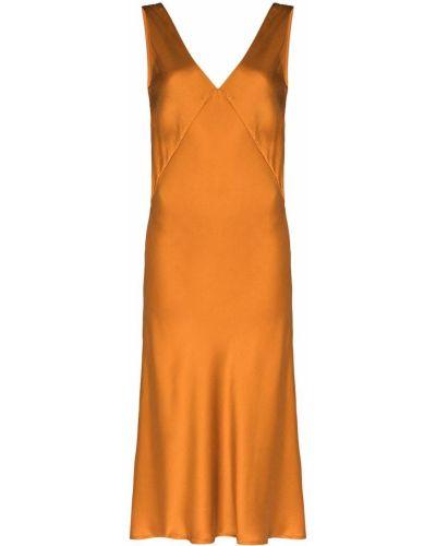 Коричневое шелковое платье миди без рукавов Asceno