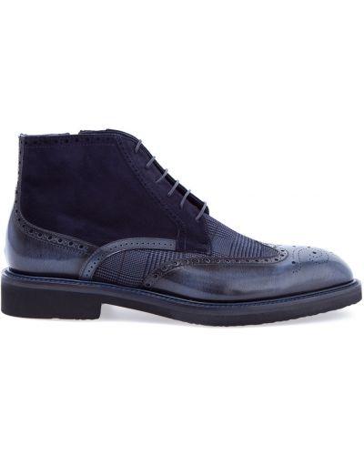 Кожаные ботинки броги с узором Moreschi