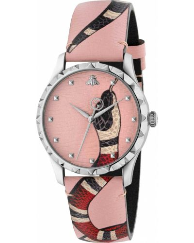 Розовые с ремешком кожаные часы на кожаном ремешке Gucci
