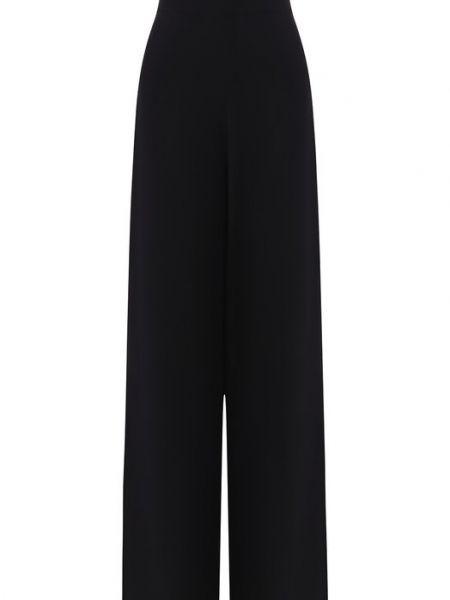 Черные расклешенные брюки с высокой посадкой из вискозы Tegin