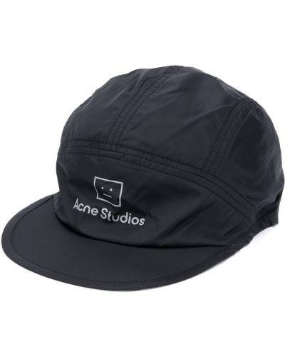 Czarna czapka z nylonu z printem Acne Studios