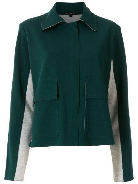 Зеленая длинная куртка с воротником с карманами Alcaçuz