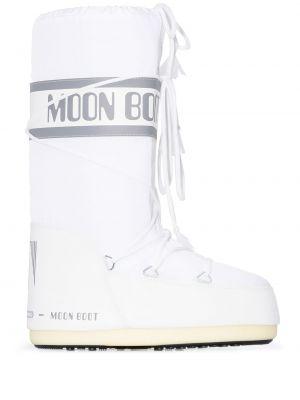 Нейлоновые белые сапоги на шнуровке Moon Boot