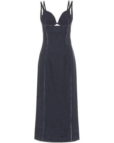 Льняное синее платье миди Jacquemus