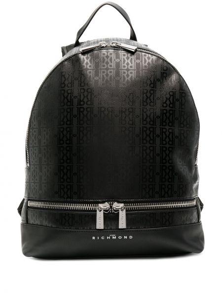 Черный кожаный сумка на плечо с карманами John Richmond