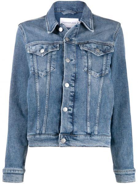 Niebieski klasyczny jeansy z kieszeniami zapinane na guziki z kołnierzem Calvin Klein Jeans