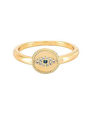 Złoty pierścionek pozłacany z cyrkoniami Gorjana