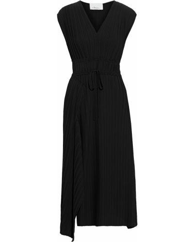 Асимметричное черное платье миди с драпировкой 3.1 Phillip Lim