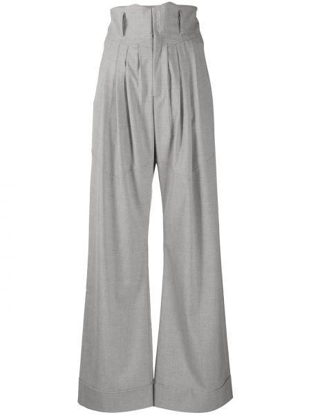 Шерстяные серые свободные брюки с поясом свободного кроя Situationist
