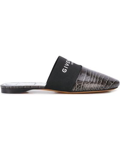 Кожаные мюли на каблуке с тиснением без застежки Givenchy