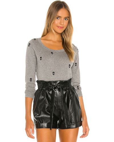 Włókienniczy sweter z mankietami z długimi rękawami z haftem Chaser