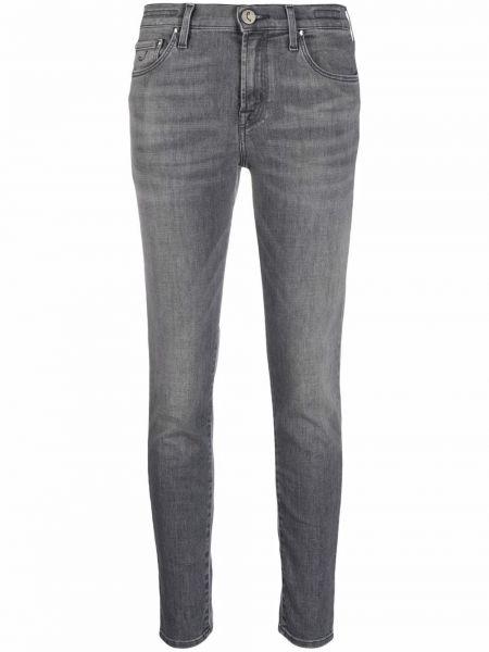 Серые хлопковые зауженные джинсы классические Jacob Cohen