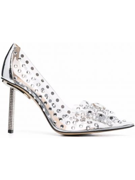 Серебряные туфли на шпильке Mach & Mach