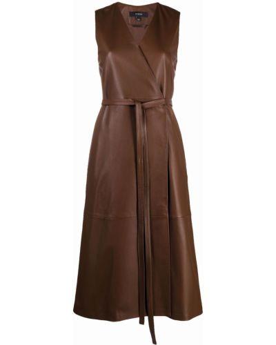 Кожаное платье - коричневое Joseph