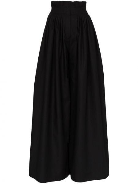 Хлопковые черные свободные брюки с поясом свободного кроя Vika Gazinskaya