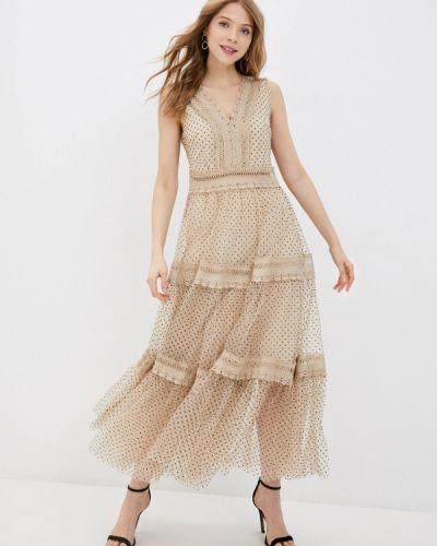 Прямое бежевое платье А-силуэта Tantra
