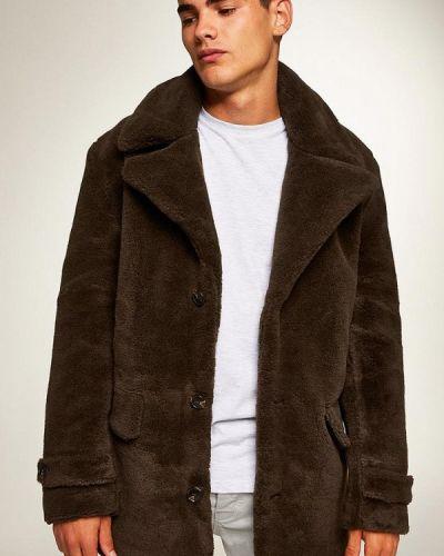 Коричневое пальто осеннее Topman