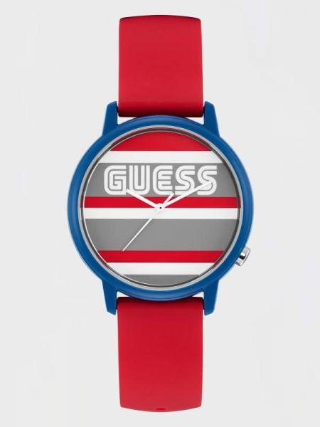 Czarny zegarek silikon w paski Guess