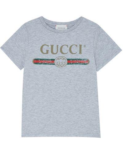 Футболка с логотипом серая Gucci Kids