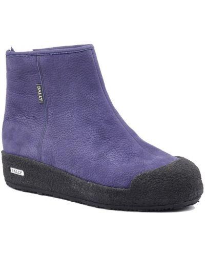 Ботинки осенние из нубука фиолетовый Bally