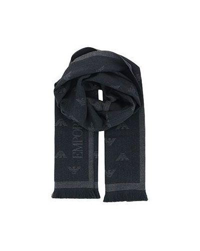 Серый шарф шерстяной Emporio Armani