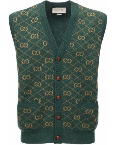 Zielona kamizelka skórzana Gucci