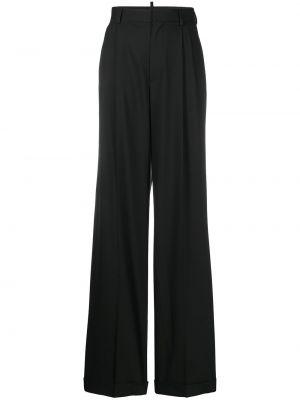 Szerokie spodnie z wysokim stanem czarne Dsquared2