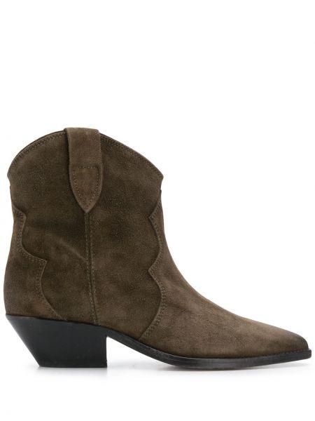 Коричневые кожаные сапоги на шпильке на каблуке Isabel Marant