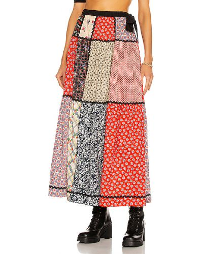 Текстильная юбка макси пэчворк Miu Miu