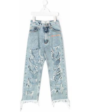 Хлопковые синие джинсы с поясом на молнии Natasha Zinko Kids