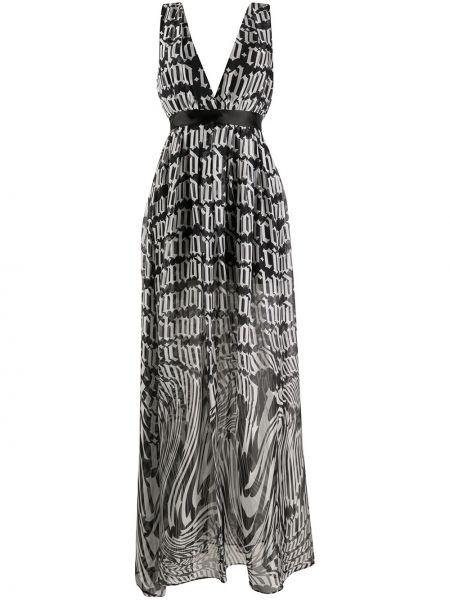 Черное платье макси с вырезом без рукавов John Richmond