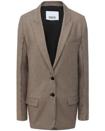 Бежевый шерстяной пиджак с подкладкой Erika Cavallini