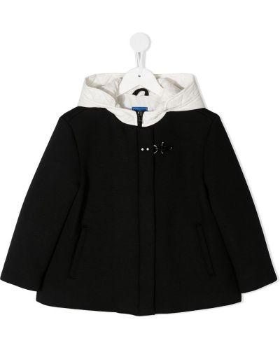 Классическая черная стеганая куртка на молнии с карманами Fay Kids