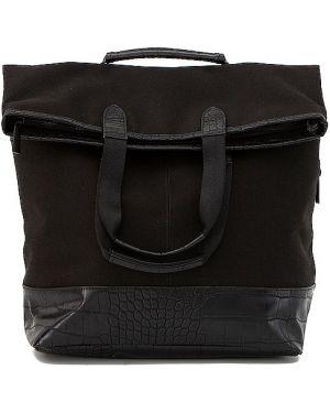 Czarny plecak skórzany na rzepy Beis